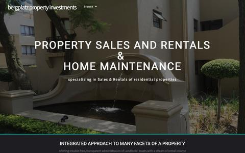 Screenshot of Home Page bergplatz.co.za - bergplatz property investments - Landing Page - captured Oct. 5, 2018