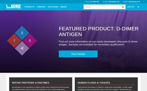 Screenshot of Home Page leebio.com - Biologics Manufacturing and More | LeeBio.com - captured Sept. 27, 2018