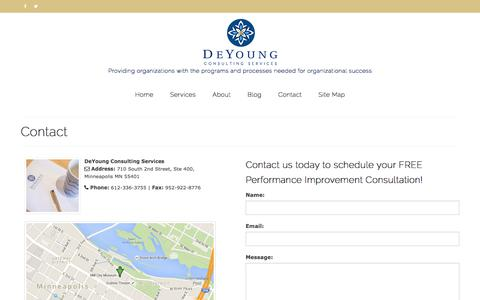 Screenshot of Contact Page deyoungconsultingservices.com - Contact - DeYoung Consulting Services, Minneapolis, Minnesota | Nationally Serving Nonprofits and Public Sector Clients - captured Oct. 12, 2017