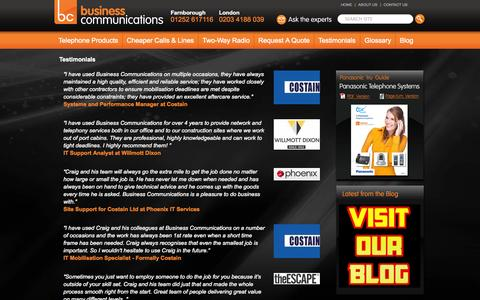 Screenshot of Testimonials Page businesscomms.co.uk - Testimonials - Telephone Solutions, SMEs, Construction, Lines and Calls - captured Sept. 30, 2014