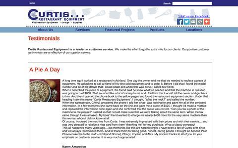 Screenshot of Testimonials Page curtisresteq.com - Curtis Restaurant Equipment - captured Oct. 3, 2014
