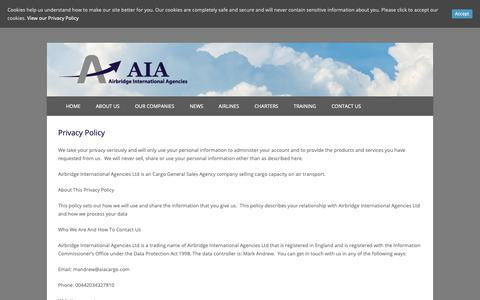 Screenshot of Privacy Page aiacargo.com - Privacy Policy – Airbridge International Agencies - captured Oct. 3, 2018