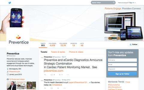 Screenshot of Twitter Page twitter.com - Preventice (@Preventice) | Twitter - captured Oct. 22, 2014