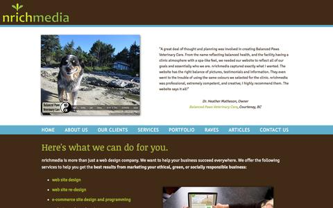 Screenshot of Services Page nrichmedia.com - Web Site Design for Green Businesses, Re-design, e-commerce, programming - Vancouver Island, BC - nrichmedia - captured Oct. 30, 2014