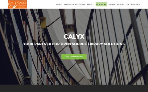 Screenshot of Home Page calyx.net.au - CALYX: Open source library consultants | Enabling communities to manage collections in the digital age - captured Sept. 30, 2015