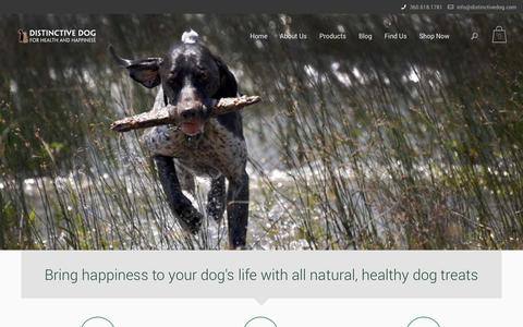 Screenshot of Home Page distinctivedog.com - Distinctive Dog treats - natural dog biscuits - captured Sept. 30, 2014
