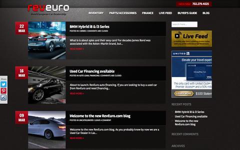 Screenshot of Blog reveuro.com - Las Vegas Car Dealer Blog | RevEuro - captured Oct. 26, 2014