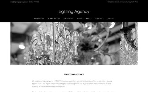 Screenshot of About Page lightingagency.co.uk - About - Lighting Agency - captured May 18, 2017