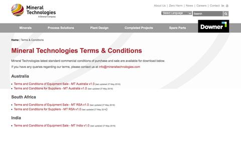 Screenshot of Terms Page mineraltechnologies.com - Terms & Conditions - captured Aug. 12, 2016