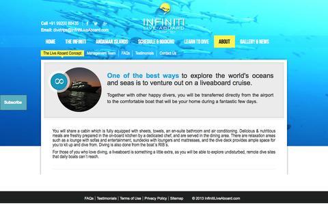 Screenshot of infinitiliveaboard.com - Infiniti Live Aboard - About - captured Oct. 4, 2015