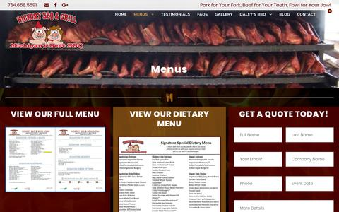 Screenshot of Menu Page hickorybbq.net - Catering Menu   Brighton, Michigan   Hickory BBQ & Grill - captured Sept. 28, 2018