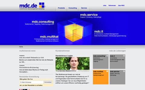 Screenshot of Home Page mdc.de - PIM-System, Multichannel Commerce, Online-Shops und CMS | mdc.de - captured June 9, 2016