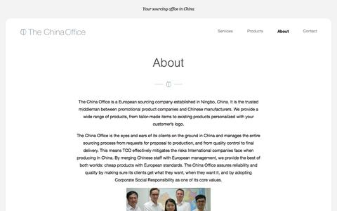 Screenshot of About Page the-china-office.com - About    The China Office - captured Oct. 26, 2014