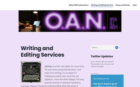Screenshot of Services Page openallnightediting.com - Writing and EditingServices - captured Oct. 19, 2018