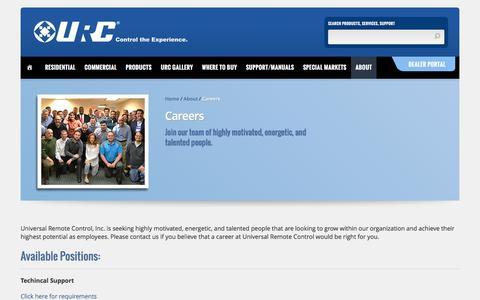 Screenshot of Jobs Page universalremote.com - Careers - Universal Remote Control - captured Nov. 25, 2016