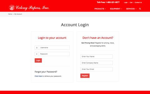 Screenshot of Login Page colonypapers.com - E-Commerce Login | Colony Papers, Inc. - captured Jan. 29, 2016