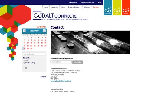 Screenshot of Contact Page cobaltconnects.ca - Contact | CoBALT Connects - captured Sept. 30, 2014