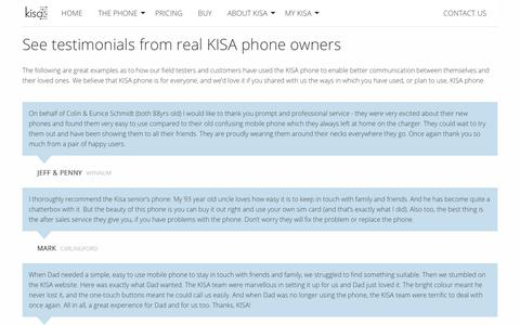 Screenshot of Testimonials Page kisaphone.com.au - KISA phone is the ultimate simple phone! - captured Oct. 15, 2018