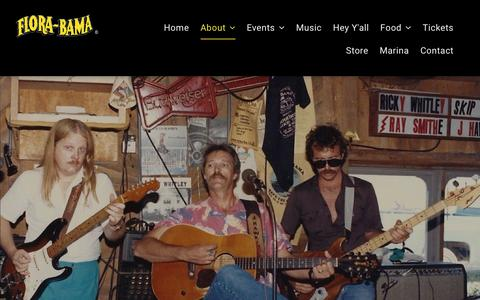 Screenshot of About Page florabama.com - ABOUT - captured July 14, 2019