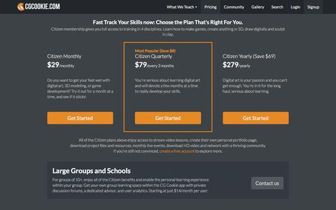 Screenshot of Pricing Page cgcookie.com - CG Cookie | Brilliant Blender, Unity, and Concept Art tutorials for animation artists and game developers. - captured July 17, 2018