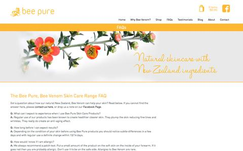Screenshot of FAQ Page beepure.co.nz - FAQ: Bee Pure Bee Venom Skin Care Products | Bee Pure - captured Oct. 5, 2014