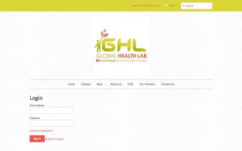 Screenshot of Login Page globalhealthlab.com - Account - Global Health Lab - captured Sept. 30, 2014