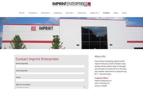 Screenshot of Contact Page imprint-e.com - Contact Imprint Enterprises - captured Feb. 11, 2018