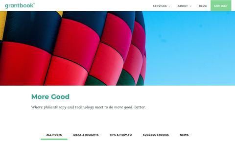 Screenshot of Blog grantbook.org - Stories & Insights on Grantmaking & Technology - by Grantbook - captured June 17, 2019