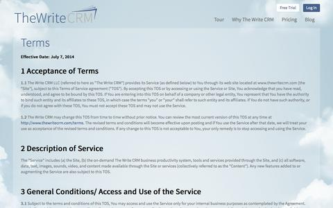 Screenshot of Terms Page thewritecrm.com - Terms | The Write CRM - captured Sept. 30, 2014