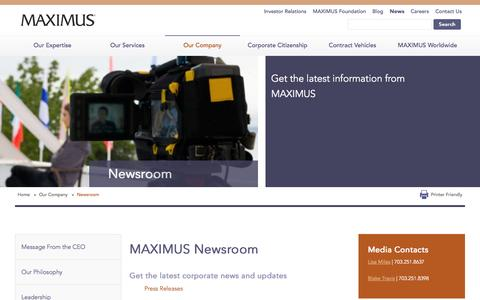 Screenshot of Press Page maximus.com - News & Events | Press Releases | Corporate Announcements - MAXIMUS  | MAXIMUS - captured Sept. 25, 2014