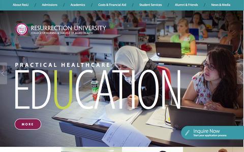 Screenshot of Home Page resu.edu - Best Nursing Schools in Chicago, IL | Resurrection University - captured Oct. 6, 2014
