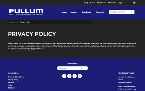 Screenshot of Privacy Page pullum-sports.co.uk - Privacy Policy - captured Nov. 17, 2016
