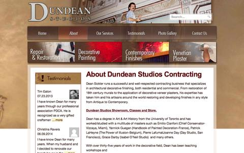 Screenshot of About Page dundeanstudios.com - About Dundean Studios Contracting - To beautify our surroundings is a necessity, not an option. - captured Sept. 30, 2014