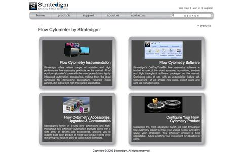 Screenshot of Products Page stratedigm.com - Flow Cytometer Products & Flow Cytometer tools by Stratedigm - captured Oct. 7, 2014