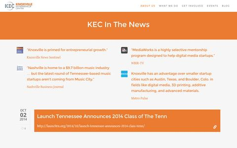 Screenshot of Press Page knoxec.com - KEC In The News - Knoxville Entrepreneur Center - captured Feb. 12, 2016