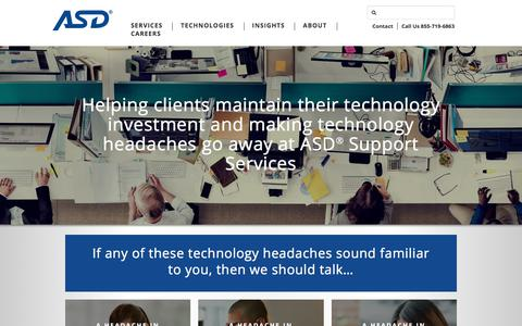 Screenshot of Support Page asd-usa.com - Workplace Technology | ASD Support Services - captured Oct. 7, 2017