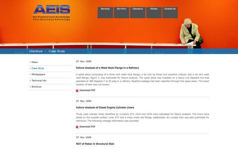 Screenshot of Case Studies Page aeisndt.com - AEIS :: Our Professional Knowledge Your Business Advantage - captured Oct. 4, 2014