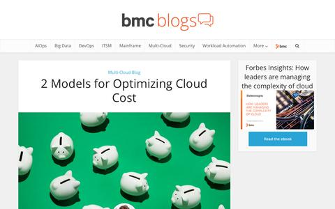 Screenshot of Pricing Page bmc.com - 2 Models for Optimizing Cloud Cost – BMC Blogs - captured Dec. 14, 2019