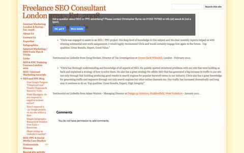 Screenshot of Testimonials Page seolondonsurrey.co.uk - Testimonials - Freelance SEO Consultant London area - Est. 2008 - captured Oct. 6, 2014