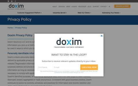 Screenshot of Privacy Page doxim.com - Privacy Policy - captured Feb. 6, 2016