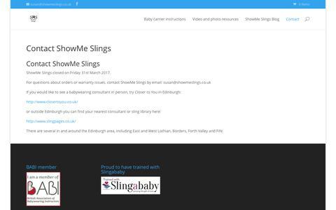 Screenshot of Contact Page showmeslings.co.uk - Contact ShowMe Slings - ShowMe Slings - captured June 13, 2017