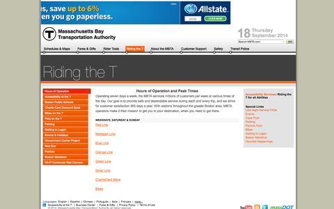 Screenshot of Hours Page mbta.com - MBTA > Riding the T - captured Sept. 18, 2014
