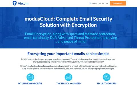 Screenshot of Landing Page vircom.com - Complete Email Security with Email Encryption - captured March 13, 2017
