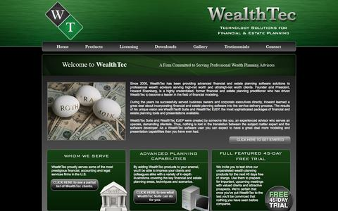 Screenshot of Home Page wealthtec.com - WealthTec® | Technology Solutions for Financial & Estate Planning - captured Oct. 7, 2014