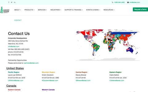 Screenshot of Contact Page atlab.com - Contact - captured Feb. 14, 2019
