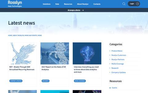 Screenshot of Press Page rosslyndatatech.com - Rosslyn | News - captured Aug. 20, 2019