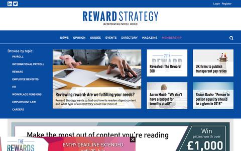 Screenshot of Jobs Page reward-strategy.com - Reward Strategy - News - captured July 11, 2018