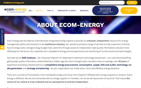 Screenshot of About Page ecom-energy.com - About Ecom-Energy | Ecom-Energy, Inc. - captured July 16, 2018