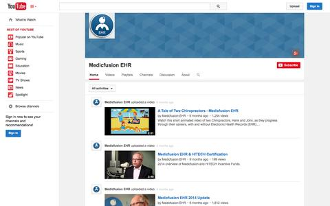 Screenshot of YouTube Page youtube.com - Medicfusion EHR  - YouTube - captured Nov. 3, 2014