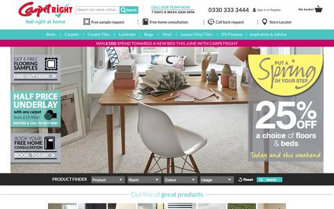 Screenshot of Home Page carpetright.co.uk - Carpetright | UK's largest selection of flooring and beds - captured June 17, 2015